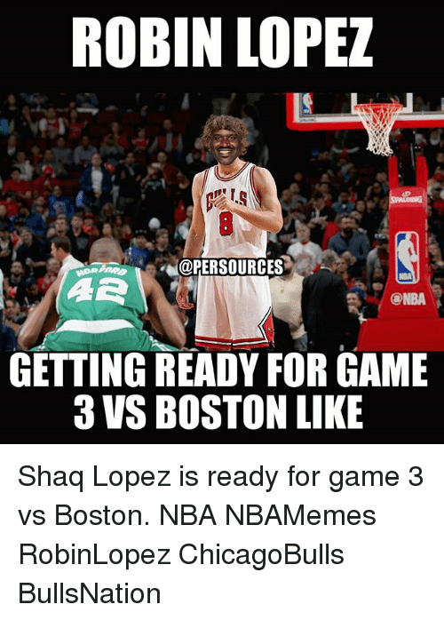 robin lopez: ROBIN LOPEZ  L@PERSOURCES  NBA  GETTING READY FOR GAME  3 VS BOSTON LIKE Shaq Lopez is ready for game 3 vs Boston. NBA NBAMemes RobinLopez ChicagoBulls BullsNation