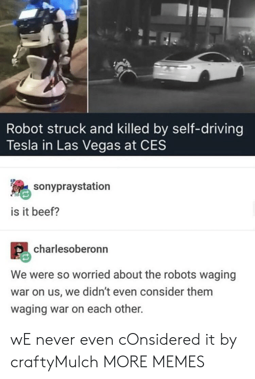 Robots: Robot struck and killed by self-driving  Tesla in Las Vegas at CES  sonypraystation  is it beef?  charlesoberonn  We were so worried about the robots waging  war on us, we didn't even consider them  waging war on each other. wE never even cOnsidered it by craftyMulch MORE MEMES