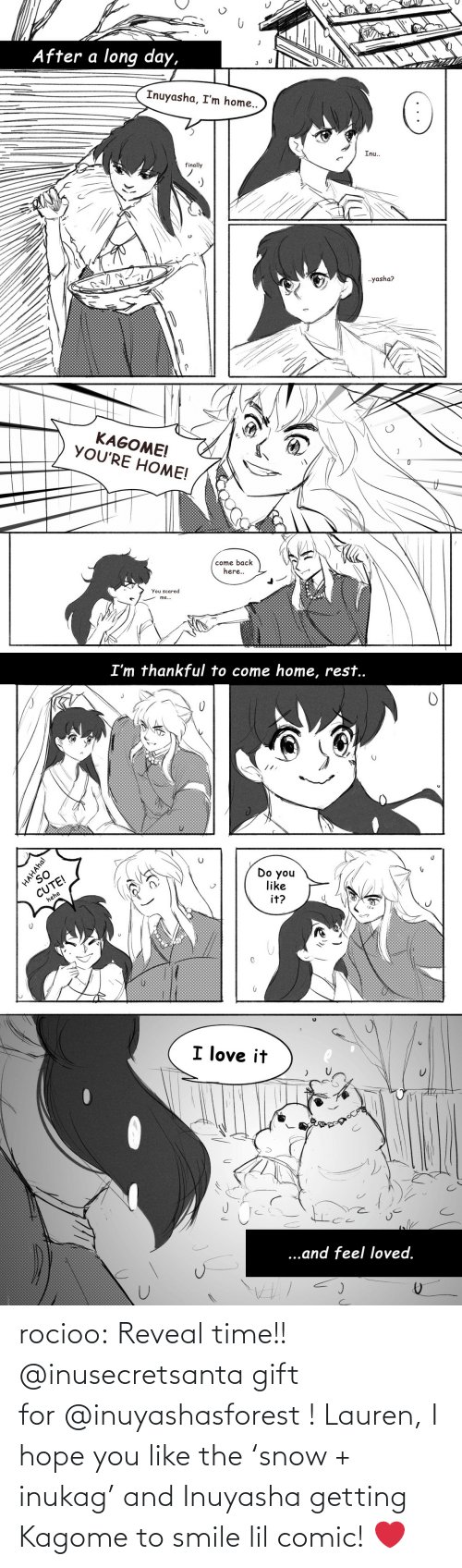 Target, Tumblr, and Blog: rocioo: Reveal time!! @inusecretsanta gift for @inuyashasforest ! Lauren, I hope you like the 'snow + inukag' and Inuyasha getting Kagome to smile lil comic! ❤