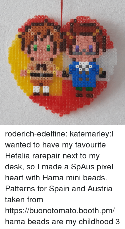 Taken, Target, and Tumblr: roderich-edelfine:  katemarley:I wanted to have my favourite Hetalia rarepair next to my desk, so I made a SpAus pixel heart with Hama mini beads. Patterns for Spain and Austria taken from https://buonotomato.booth.pm/ hama beads are my childhood 3