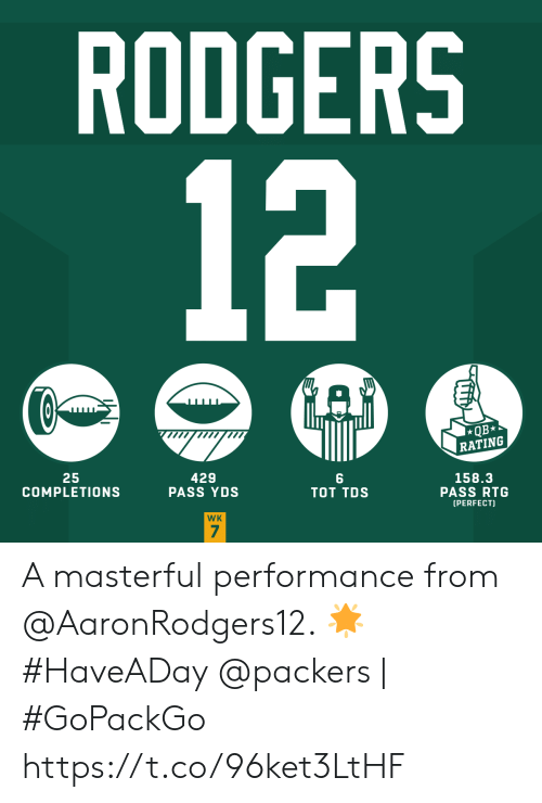 tot: RODGERS  12  QB  RATING  25  COMPLETIONS  429  PASS YDS  158.3  PASS RTG  TOT TDS  [PERFECT)  WK  7 A masterful performance from @AaronRodgers12. 🌟 #HaveADay   @packers | #GoPackGo https://t.co/96ket3LtHF