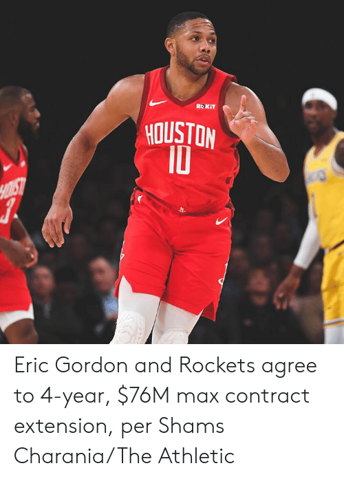 Houston, Rockets, and Extension: ROKIT  HOUSTON  10  HOIST Eric Gordon and Rockets agree to 4-year, $76M max contract extension, per Shams Charania/The Athletic