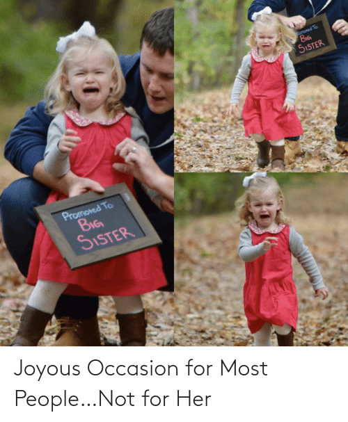For Her: romoted To  BIG  SISTER  Promoted To  BIG  SISTER Joyous Occasion for Most People…Not for Her