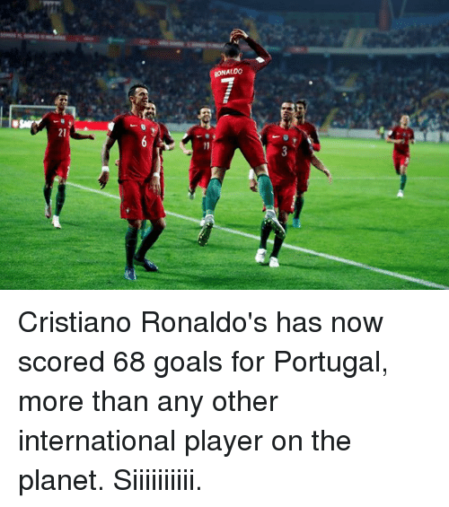 Cristiano Ronaldo, Goals, and Soccer: RONALDO Cristiano Ronaldo's has now scored 68 goals for Portugal, more than any other international player on the planet.  Siiiiiiiiii.