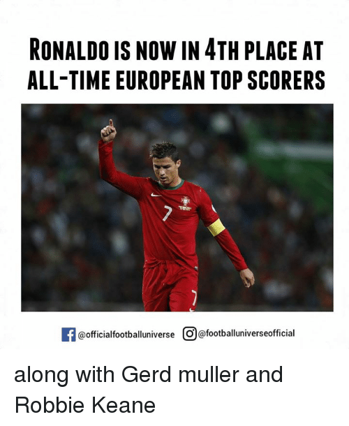 robbie keane: RONALDO IS NOW IN4TH PLACE AT  ALL-TIME EUROPEAN TOP SCORERS  @official footballuniverse O@footballuniverseofficial along with Gerd muller and Robbie Keane