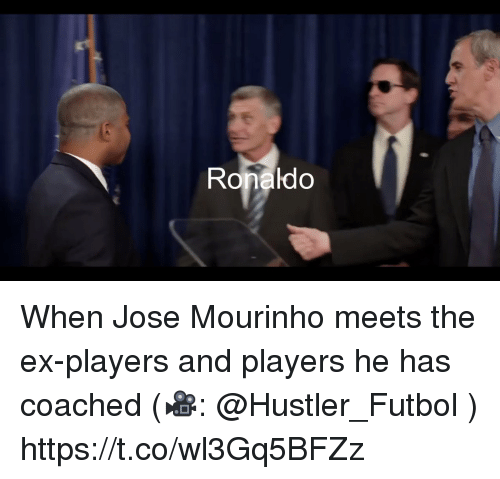 Hustler, Memes, and Ronaldo: Ronaldo When Jose Mourinho meets the ex-players and players he has coached (🎥: @Hustler_Futbol )  https://t.co/wl3Gq5BFZz