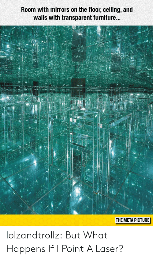 Tumblr, Blog, and Furniture: Room with mirrors on the floor, ceiling, and  walls with transparent furniture...  id  THE META PICTURE lolzandtrollz:  But What Happens If I Point A Laser?
