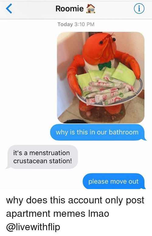 roomie: Roomie  2a  Today 3:10 PM  why is this in our bathroom  it's a menstruation  crustacean station!  please move out why does this account only post apartment memes lmao @livewithflip