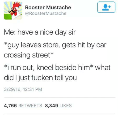 Humans of Tumblr: Rooster Mustache  @RoosterMustache  Me: have a nice day sir  *guy leaves store, gets hit by car  crossing street*  *i run out, kneel beside him* what  did I just fucken tell you  3/29/16, 12:31 PM  4,766 RETWEETS 8,349 LIKES