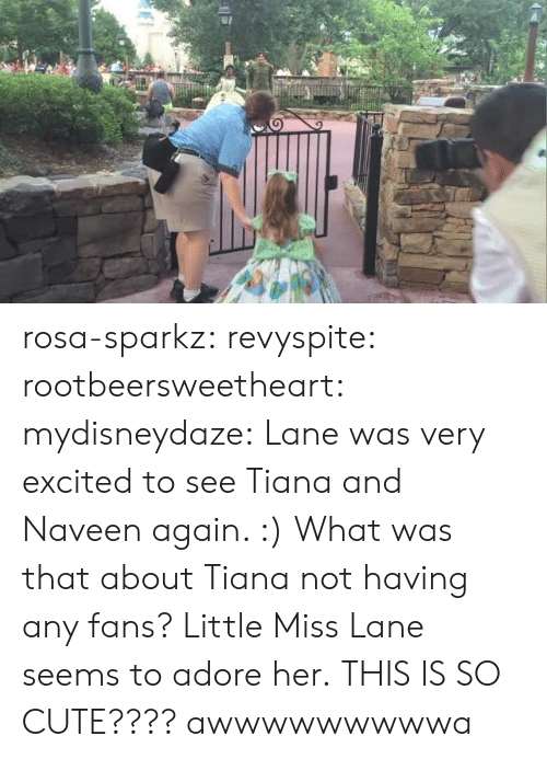 Cute, Tumblr, and Blog: rosa-sparkz: revyspite:  rootbeersweetheart:  mydisneydaze:  Lane was very excited to see Tiana and Naveen again. :)  What was that about Tiana not having any fans? Little Miss Lane seems to adore her.  THIS IS SO CUTE????  awwwwwwwwwa