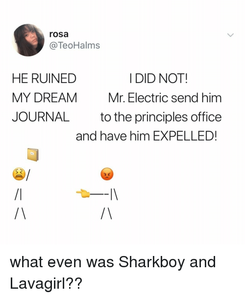 Office, Relatable, and Sharkboy and Lavagirl: rosa  @TeoHalms  I DID NOT  HE RUINED  MY DREAM  JOURNAL  Mr. Electric send him  to the principles office  and have him EXPELLED! what even was Sharkboy and Lavagirl??