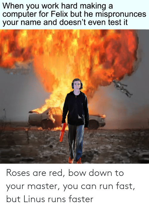 Roses Are: Roses are red, bow down to your master, you can run fast, but Linus runs faster