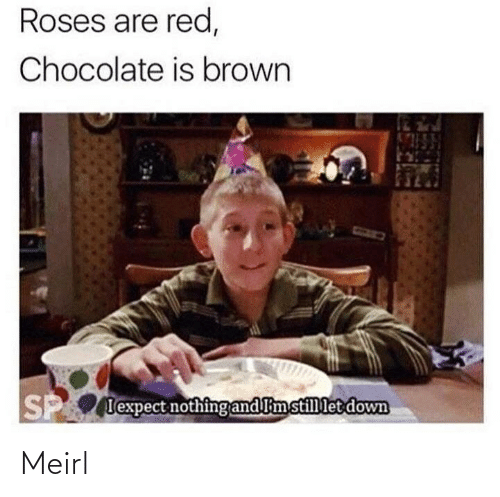 Chocolate: Roses are red,  Chocolate is brown  P lexpect nothing and limstillet down Meirl
