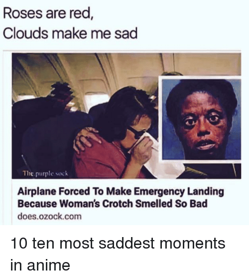 Anime, Bad, and Airplane: Roses are red  Clouds make me sad  Tie purple sock  Airplane Forced To Make Emergency Landing  Because Woman's Crotch Smelled So Bad  does.ozock.com <p>10 ten most saddest moments in anime</p>