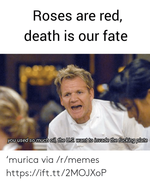 murica: Roses are red,  death is our fate  you used so much oil, the U.S want to invade the fucking plate 'murica via /r/memes https://ift.tt/2MOJXoP