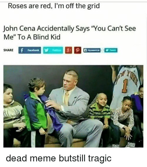 """John Cena, Meme, and Memes: Roses are red, I'm off the grid  John Cena Accidentally Says You Can't See  Me"""" To A Blind Kic  SHARE dead meme butstill tragic"""