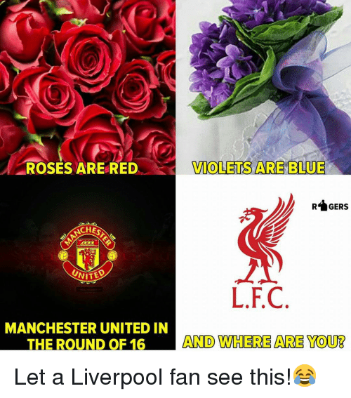 Memes, Manchester United, and Liverpool F.C.: ROSES ARERED  TOLETS ARE BLUE  RGERS  CHEST  L.F.C  MANCHESTER UNITED IN  THE ROUND OF 16  AND WHERE ARE YOUB Let a Liverpool fan see this!😂