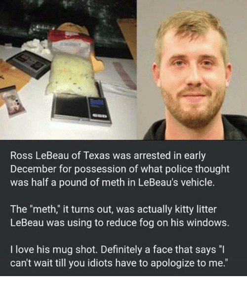 "Definitely, Love, and Memes: Ross LeBeau of Texas was arrested in early  December for possession of what police thought  was half a pound of meth in LeBeau's vehicle.  The ""meth,"" it turns out, was actually kitty litter  LeBeau was using to reduce fog on his windows.  I love his mug shot. Definitely a face that says ""I  can't wait till you idiots have to apologize to me."""