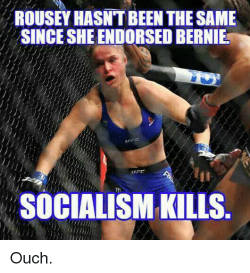 Memes, Socialism, and 🤖: ROUSEY HASNTBEEN THE SAME  SINCE SHEENDORSEDBERNIEa  SOCIALISM KILLS Ouch.