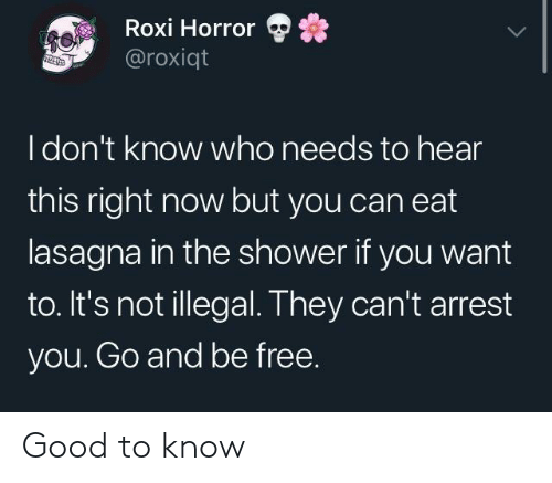 Shower, Free, and Good: Roxi Horror  @roxiqt  Idon't know who needs to hear  this right now but you can eat  lasagna in the shower if you want  to. It's not illegal. They can't arrest  you. Go and be free. Good to know