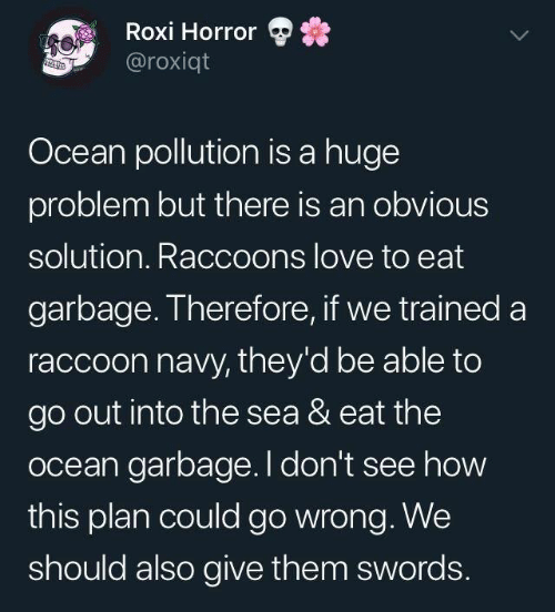 Dank, Love, and Navy: Roxi Horror  @roxiqt  Ocean pollution is a huge  problem but there is an obvious  solution. Raccoons love to eat  garbage. Therefore, if we trained a  raccoon navy, they'd be able to  go out into the sea & eat the  ocean garbage. I don't see how  this plan could go wrong. We  should also give them swords.