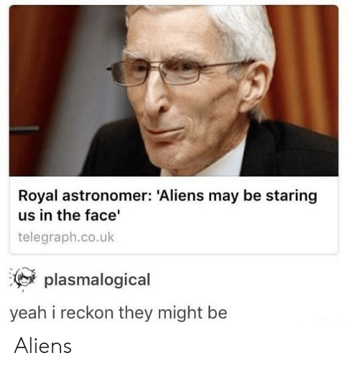 Yeah, Aliens, and Telegraph: Royal astronomer: Aliens may be staring  us in the face  telegraph.co.uk  plasmalogical  yeah i reckon they might be Aliens