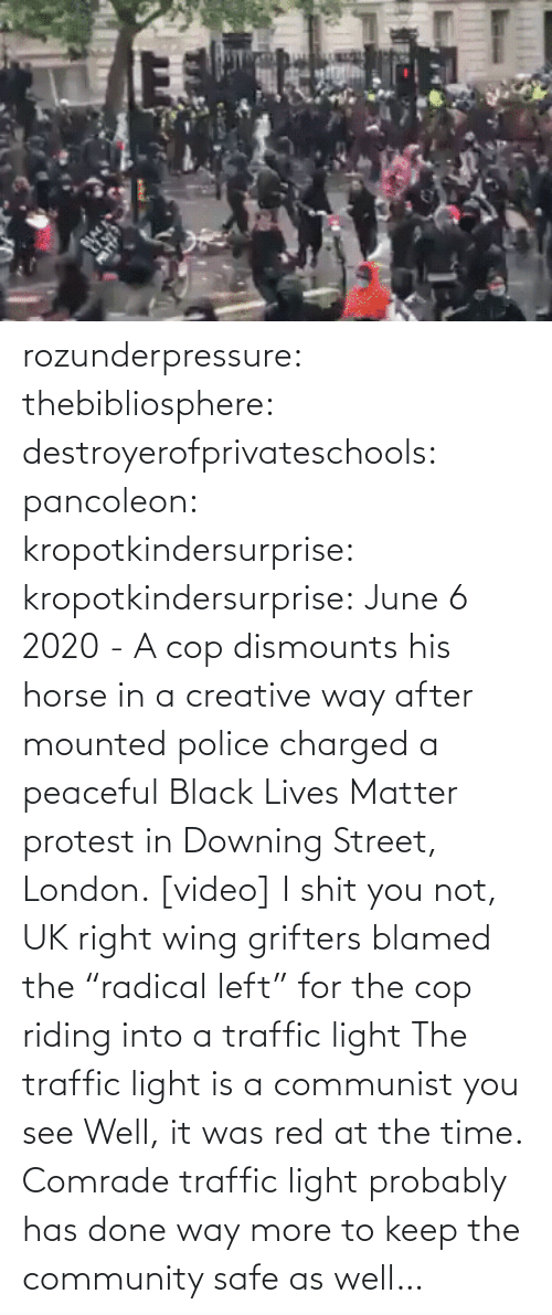 "tmblr: rozunderpressure:  thebibliosphere: destroyerofprivateschools:  pancoleon:   kropotkindersurprise:  kropotkindersurprise: June 6 2020 - A cop dismounts his horse in a creative way after mounted police charged a peaceful Black Lives Matter protest in Downing Street, London. [video]    I shit you not, UK right wing grifters blamed the ""radical left"" for the cop riding into a traffic light    The traffic light is a communist you see    Well, it was red at the time.  Comrade traffic light probably has done way more to keep the community safe as well…"