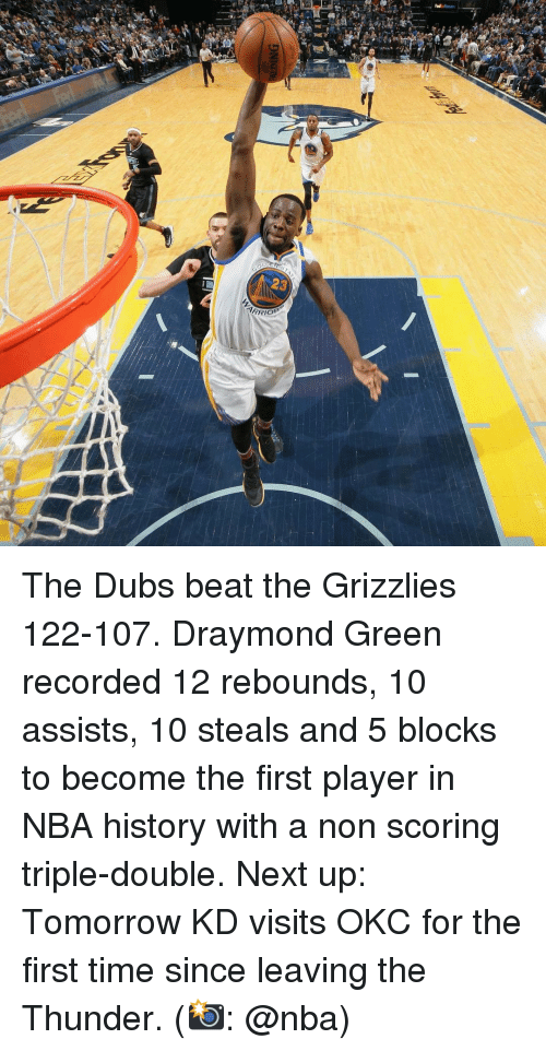 Basketball, Draymond Green, and Golden State Warriors: RRIO'  cor  3  DNIG The Dubs beat the Grizzlies 122-107. Draymond Green recorded 12 rebounds, 10 assists, 10 steals and 5 blocks to become the first player in NBA history with a non scoring triple-double. Next up: Tomorrow KD visits OKC for the first time since leaving the Thunder. (📸: @nba)