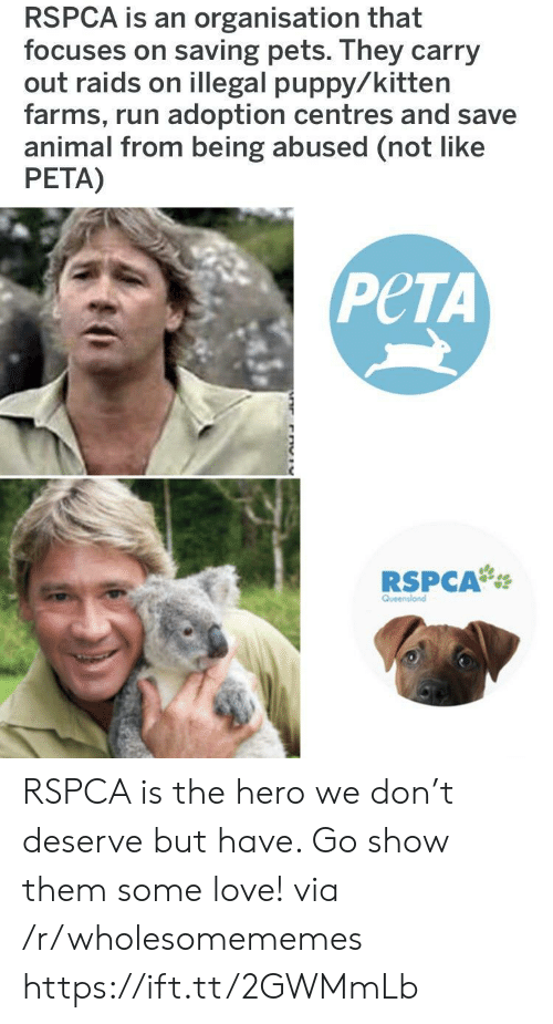 Love, Run, and Peta: RSPCA is an organisation that  focuses on saving pets. They carry  out raids on illegal puppy/kitten  farms, run adoption centres and save  animal from being abused (not like  PETA)  PeTA  RSPCA RSPCA is the hero we don't deserve but have. Go show them some love! via /r/wholesomememes https://ift.tt/2GWMmLb
