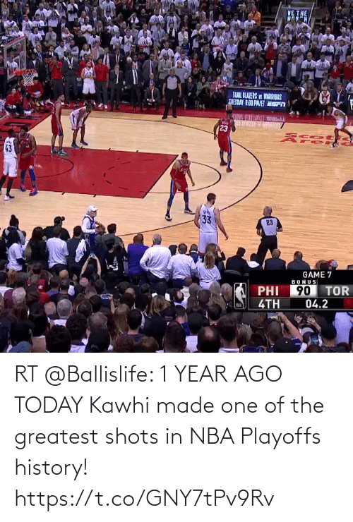 kawhi: RT @Ballislife: 1 YEAR AGO TODAY  Kawhi made one of the greatest shots in NBA Playoffs history!  https://t.co/GNY7tPv9Rv