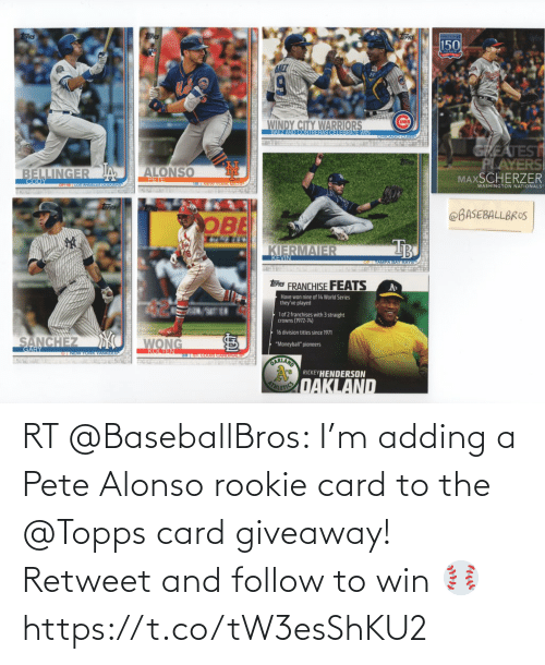 ballmemes.com: RT @BaseballBros: I'm adding a Pete Alonso rookie card to the @Topps card giveaway! Retweet and follow to win ⚾️ https://t.co/tW3esShKU2