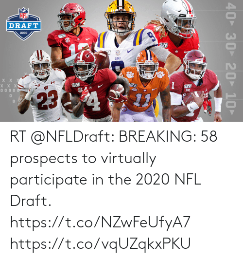 NFL draft: RT @NFLDraft: BREAKING: 58 prospects to virtually participate in the 2020 NFL Draft.  https://t.co/NZwFeUfyA7 https://t.co/vqUZqkxPKU