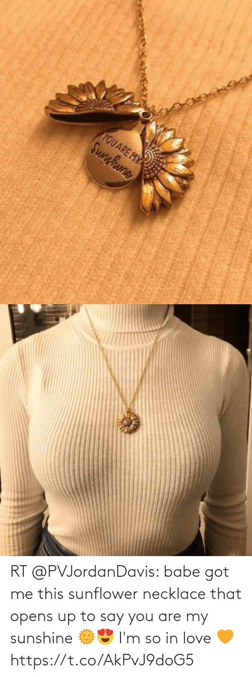 Love, Memes, and 🤖: RT @PVJordanDavis: babe got me this sunflower necklace that opens up to say you are my sunshine 🌞😍 I'm so in love 🧡 https://t.co/AkPvJ9doG5