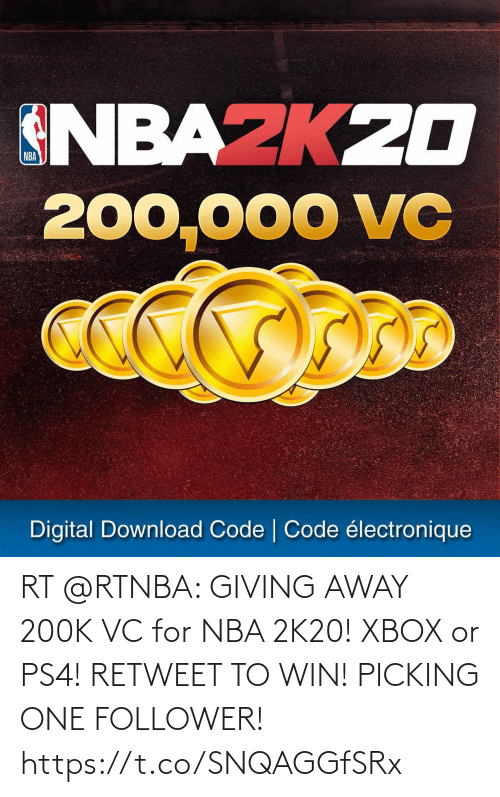 Football: RT @RTNBA: GIVING AWAY 200K VC for NBA 2K20! XBOX or PS4! RETWEET TO WIN!  PICKING ONE FOLLOWER! https://t.co/SNQAGGfSRx