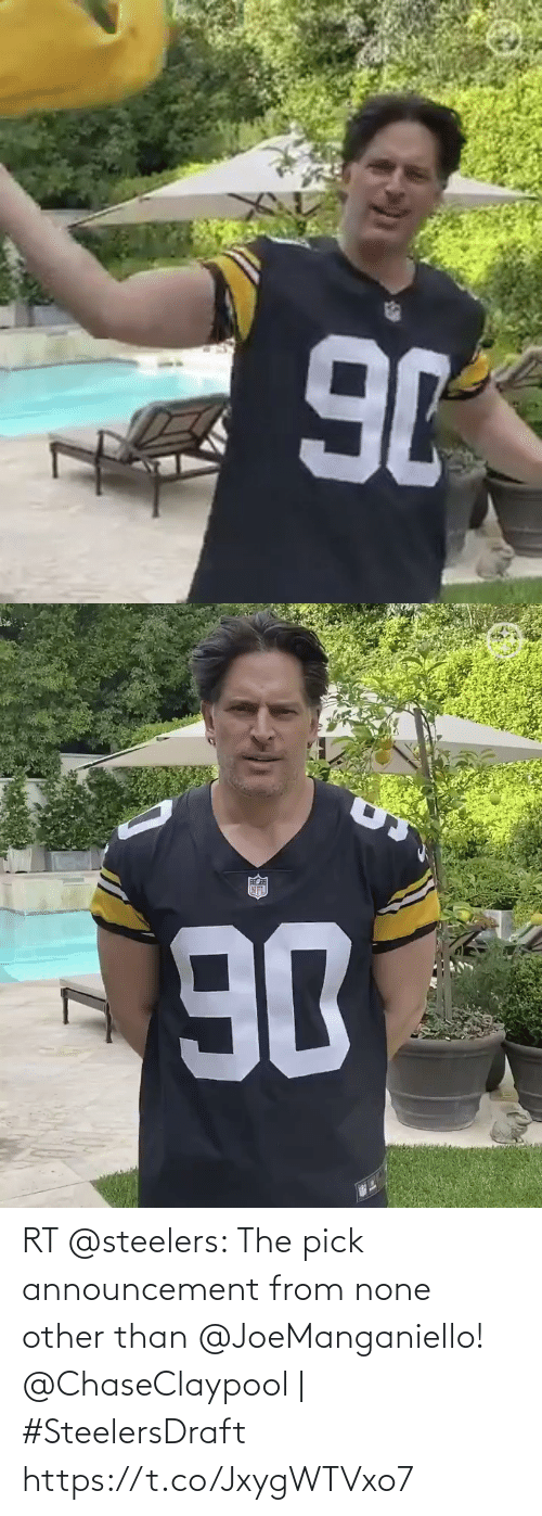 Steelers: RT @steelers: The pick announcement from none other than @JoeManganiello!  @ChaseClaypool | #SteelersDraft https://t.co/JxygWTVxo7