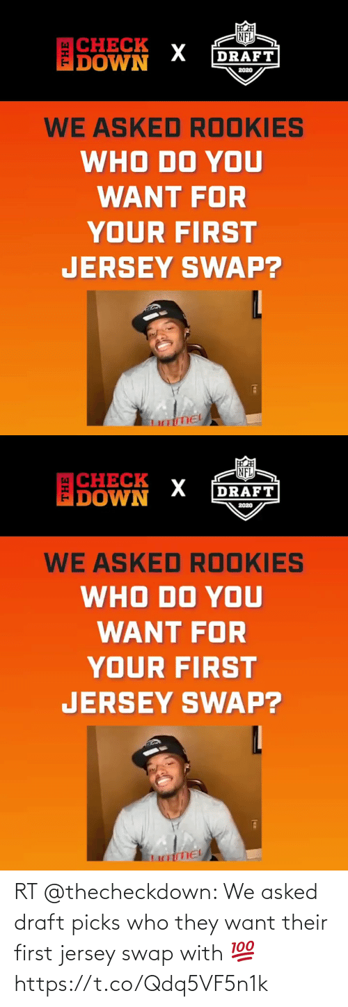 draft: RT @thecheckdown: We asked draft picks who they want their first jersey swap with 💯 https://t.co/Qdq5VF5n1k