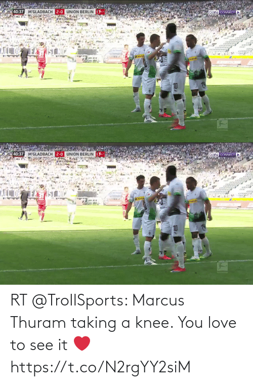 Knee: RT @TroIISports: Marcus Thuram taking a knee. You love to see it ❤️  https://t.co/N2rgYY2siM