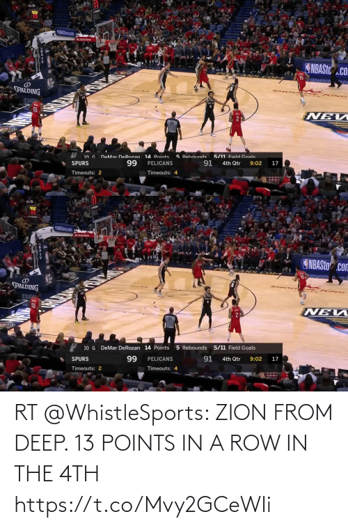ballmemes.com: RT @WhistleSports: ZION FROM DEEP. 13 POINTS IN A ROW IN THE 4TH https://t.co/Mvy2GCeWIi