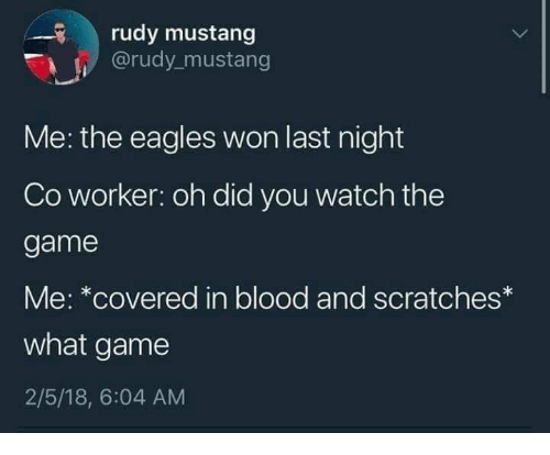 Philadelphia Eagles, The Game, and Game: rudy mustang  @rudy mustang  Me: the eagles won last night  Co worker: oh did you watch the  game  Me: *covered in blood and scratches*  what game  2/5/18, 6:04 AM