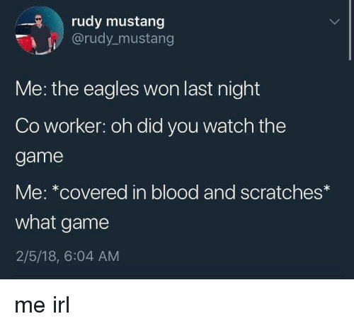 Philadelphia Eagles, The Game, and Game: rudy mustang  @rudy_mustang  Me: the eagles won last night  Co worker: oh did you watch the  game  Me: *covered in blood and scratches*  what game  2/5/18, 6:04 AM me irl