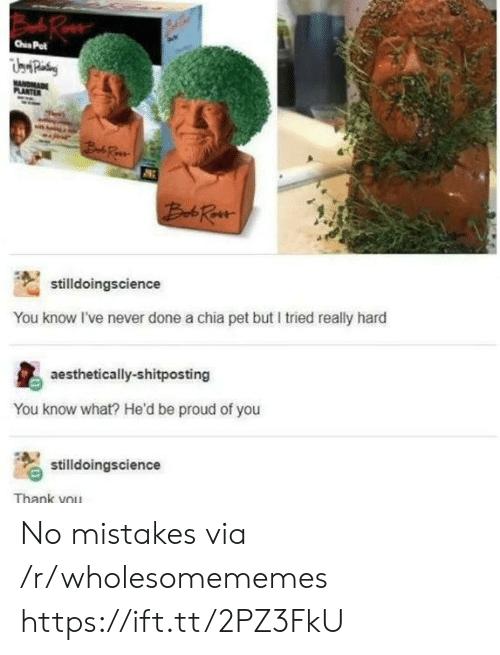 Thank You, Proud, and Mistakes: Rue  Pet  WANDMAR  PLANTER  Bd Ra  stilldoingscience  You know I've never done a chia pet but I tried really hard  aesthetically-shitposting  You know what? He'd be proud of you  stilldoingscience  Thank you No mistakes via /r/wholesomememes https://ift.tt/2PZ3FkU