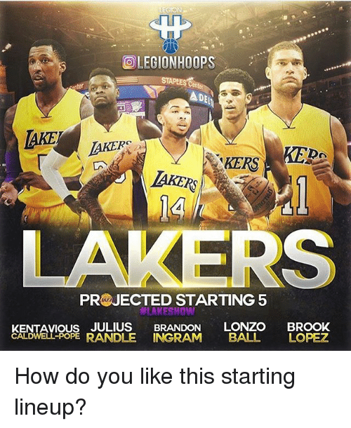 poped: rUl  I1  LEGIONHOOPS  en  DE  AKE  AKERS  KEDA  TAKER  IAKERS  LAKERS  PR JECTED STARTING 5  LAKESHO  KENTAVIOUS JULIUS BRANDON LONZO BROOK  CALDWELL-POPE  RANDLE INGRAM BALL LOPEZ How do you like this starting lineup?