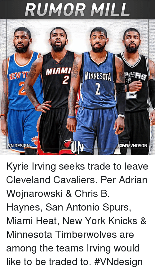 Cleveland Cavaliers, New York Knicks, and Kyrie Irving: RUMOR MILL  MIAMI  MINNESOTA  .  VN DESIGN Kyrie Irving seeks trade to leave Cleveland Cavaliers.  Per Adrian Wojnarowski & Chris B. Haynes, San Antonio Spurs, Miami Heat, New York Knicks & Minnesota Timberwolves are among the teams Irving would like to be traded to.  #VNdesign
