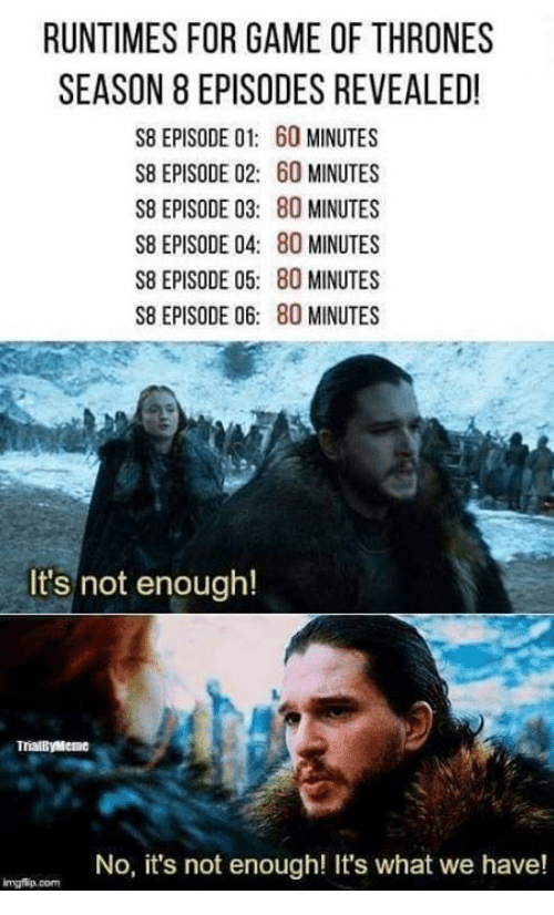 Game of Thrones, Game, and Com: RUNTIMES FOR GAME OF THRONES  SEASON 8 EPISODES REVEALED!  S8 EPISODE 01: 60 MINUTES  S8 EPISODE 02: 60 MINUTES  S8 EPISODE 03: 80 MINUTES  S8 EPISODE 04: 80 MINUTES  S8 EPISODE 05: 80 MINUTES  S8 EPISODE 06: 80 MINUTES  It's not enough!  TrialByMeme  No, it's not enough! It's what we have!  mgfip.com