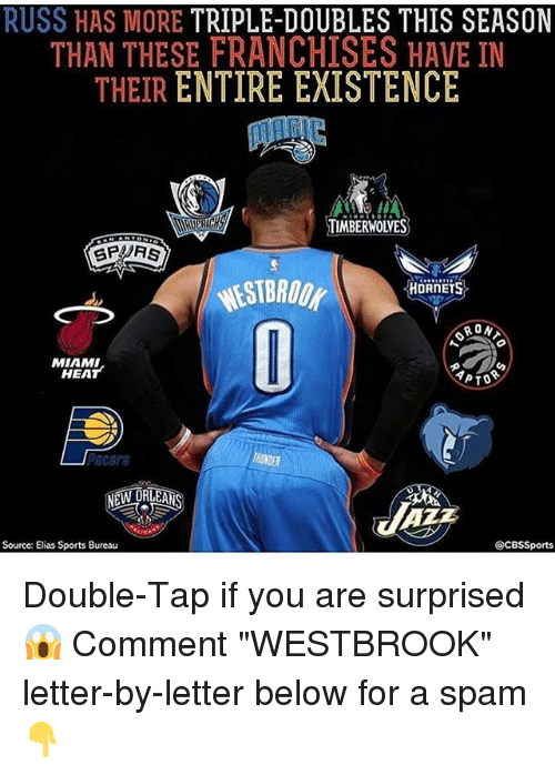 "franchises: RUSS HAS MORE TRIPLE-DOUBLES THIS SEASON  THAN THESE FRANCHISES HAVE IN  THEIR ENTIRE EXISTENCE  TIMBERWOIVES  HORNETS  RON  MIAMI  HEAT  YPTO  @CBS Sports  Source: Elias Sports Bureau Double-Tap if you are surprised😱 Comment ""WESTBROOK"" letter-by-letter below for a spam👇"
