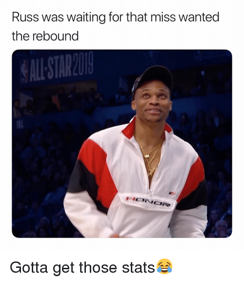 Basketball, Nba, and Sports: Russ was waiting for that miss wanted  the rebound  ALL STAREO Gotta get those stats😂