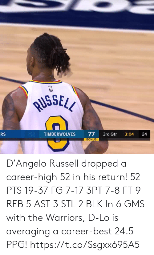 Warriors: RUSSELL  RS  77  BONUS  TIMBERWOLVES  3rd Qtr  3:04  24 D'Angelo Russell dropped a career-high 52 in his return!   52 PTS 19-37 FG 7-17 3PT 7-8 FT 9 REB 5 AST 3 STL 2 BLK   In 6 GMS with the Warriors, D-Lo is averaging a career-best 24.5 PPG!    https://t.co/Ssgxx695A5