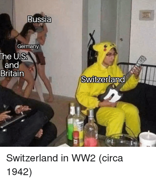 Germany, Russia, and Switzerland: Russia  Germany  he US  and  Britain  SwitzerlanO Switzerland in WW2 (circa 1942)