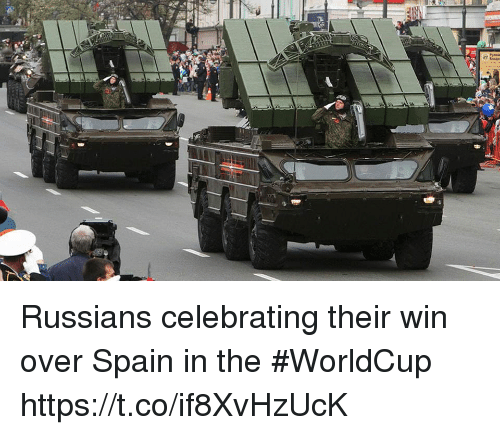 Memes, Spain, and 🤖: Russians celebrating their win over Spain in the #WorldCup https://t.co/if8XvHzUcK
