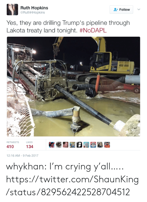 Feb 2017: Ruth Hopkins  @RuthHHopkins  Follow  Yes, they are drilling Trump's pipeline through  Lakota treaty land tonight. #NoDAPL  RETWEETS  LIKES  12:16 AM -9 Feb 2017 whykhan:  I'm crying y'all….. https://twitter.com/ShaunKing/status/829562422528704512